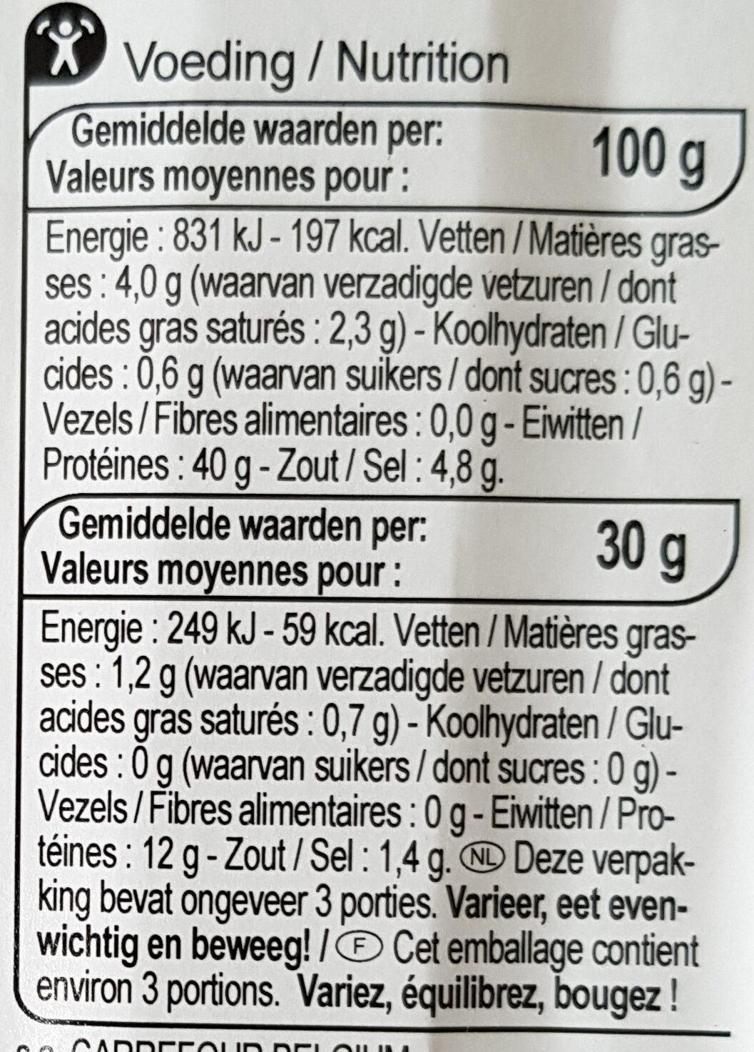 VIANDE DES GRISONS - Nutrition facts - fr