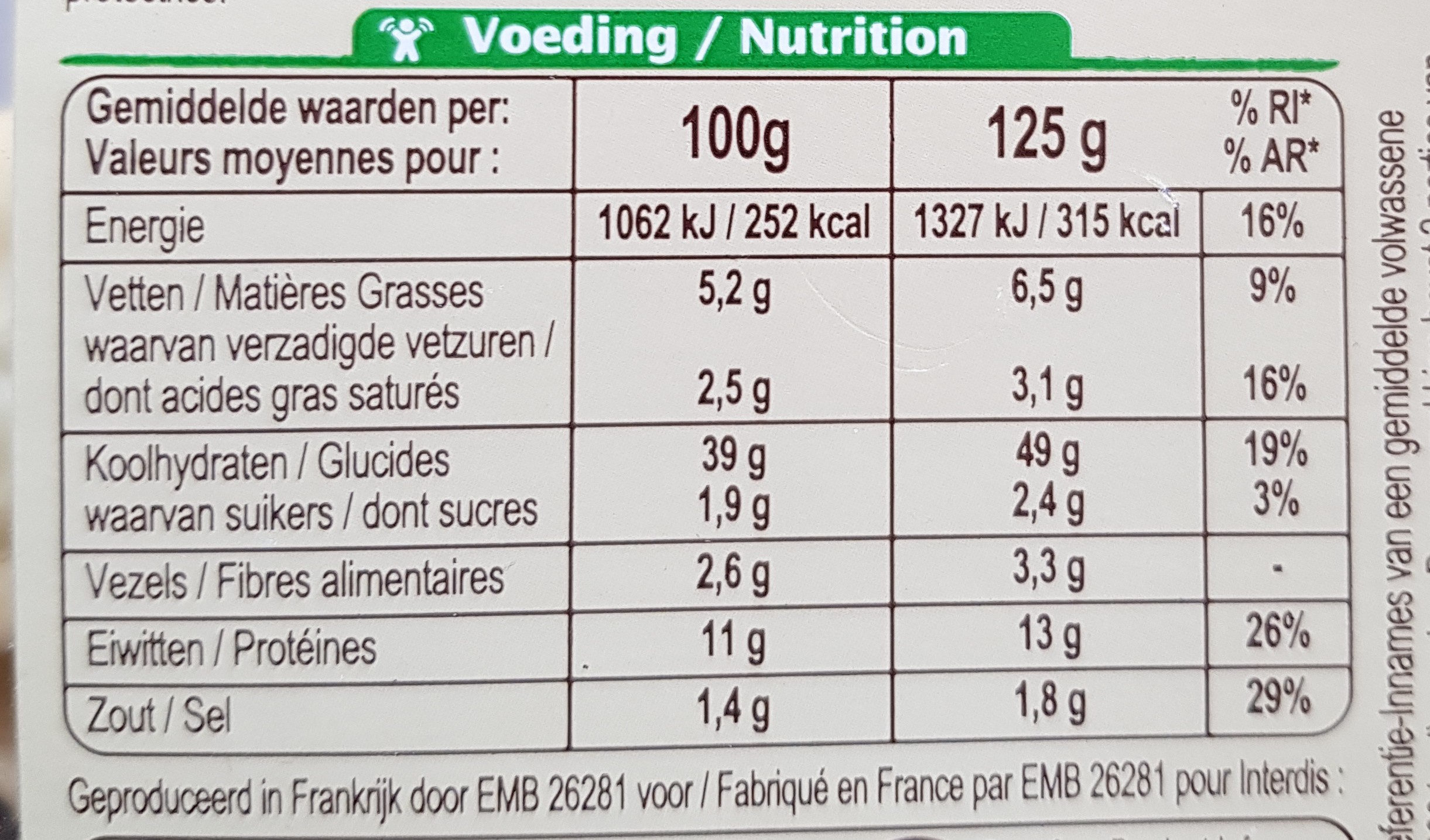 Ravioli epinard ricotta - Informations nutritionnelles - fr