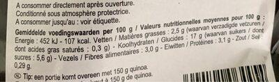 Quinoa aux legumes - Informations nutritionnelles - fr