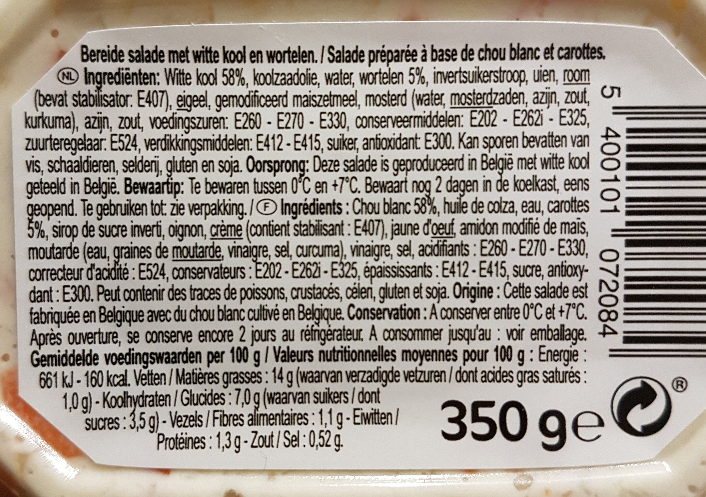 Salade Colesaw - Ingrediënten - nl