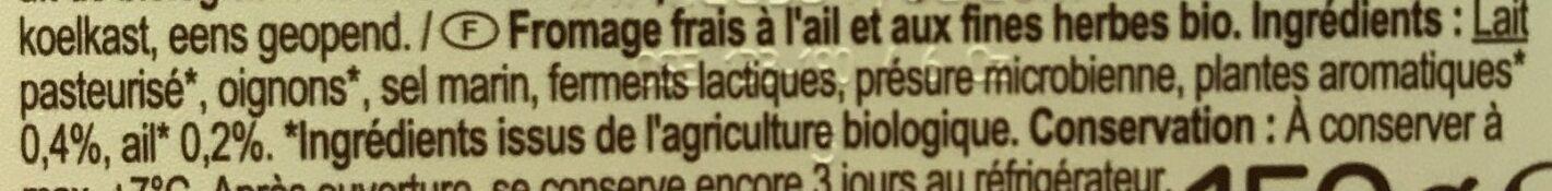 Fromage frais fines herbes et ail - Ingrediënten - fr