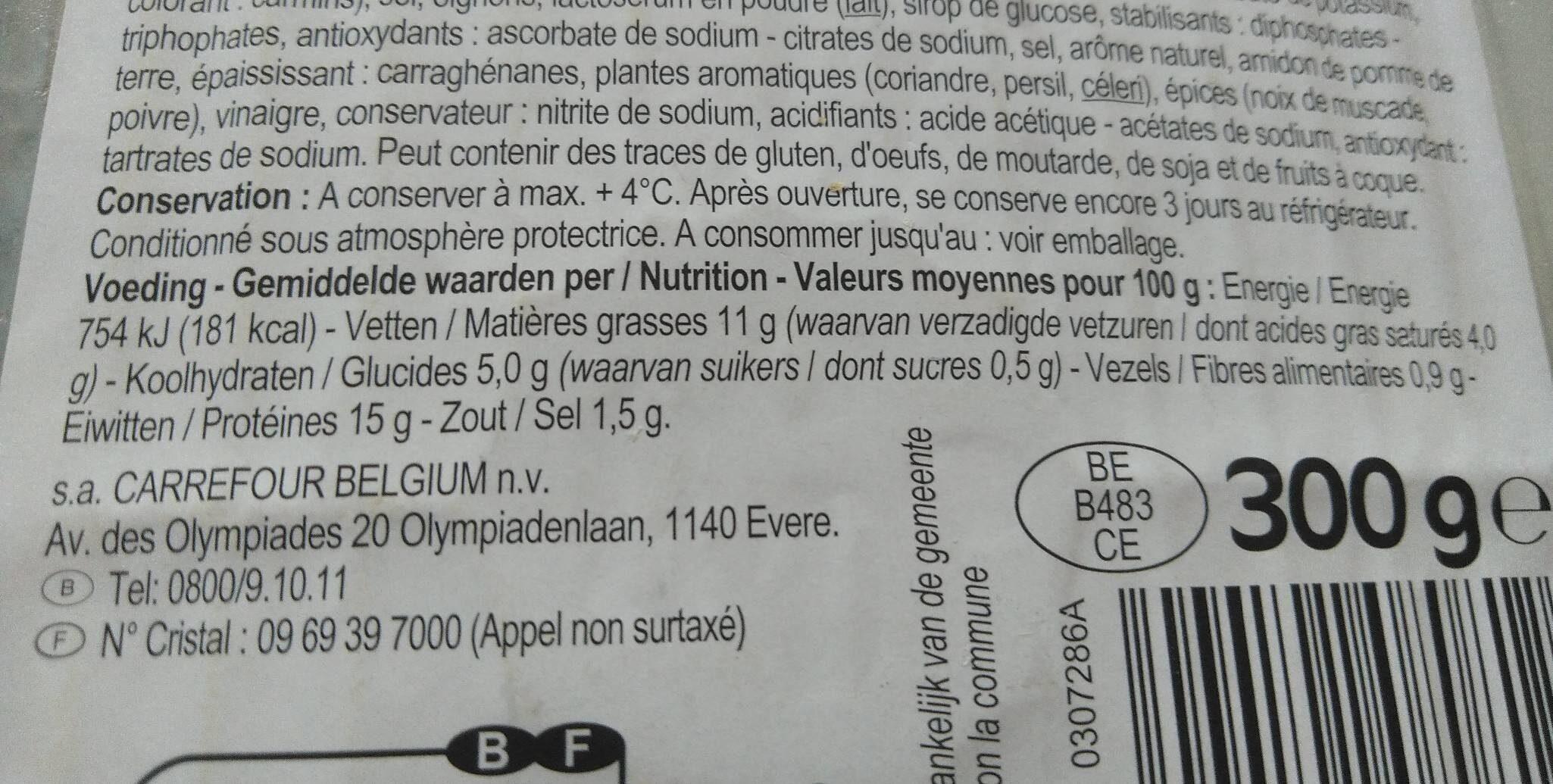 Tête pressée - Informations nutritionnelles - fr