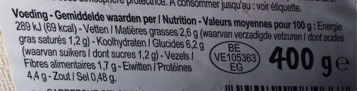 Chou-fleur, butternut, riz noir & filet de limande - Informations nutritionnelles - fr