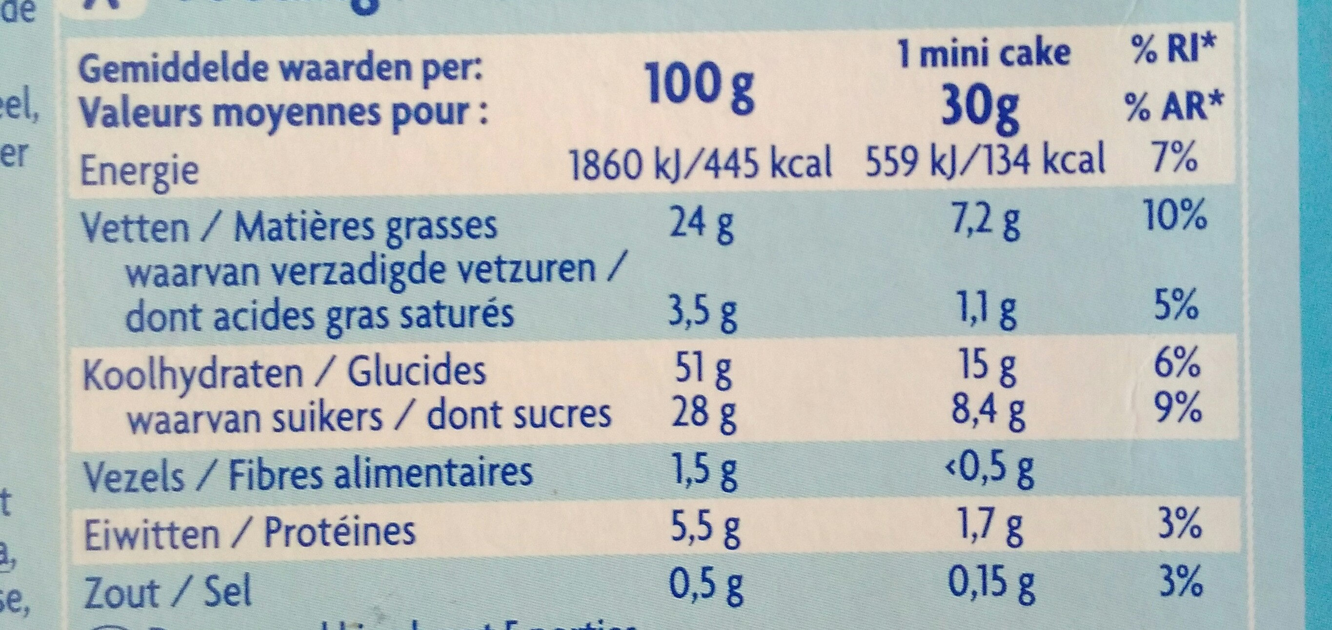 mini cakes marbrés - Nutrition facts - fr