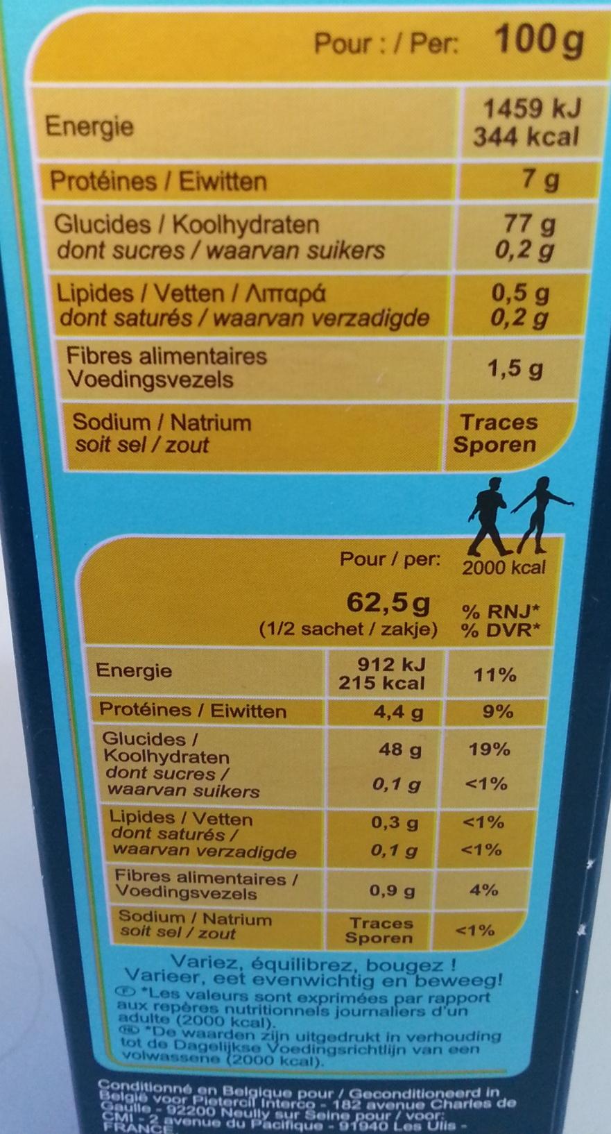 Riz parfumé - Nutrition facts - fr