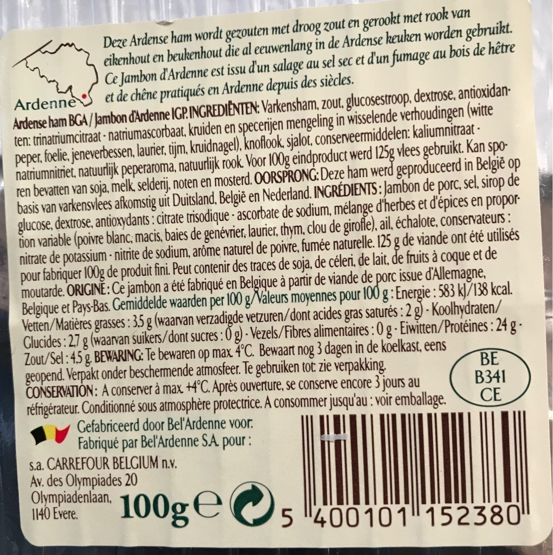 Jambon d'Ardenne - Voedingswaarden - fr