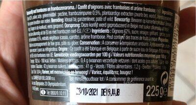 Confit d'oignons à la framboise - Voedingswaarden - fr