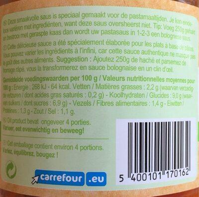 Sauce pasta tradizionale aux légumes - Nutrition facts - fr
