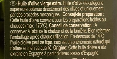 Huile d'olive vierge extra d'Espagne - Ingrediënten