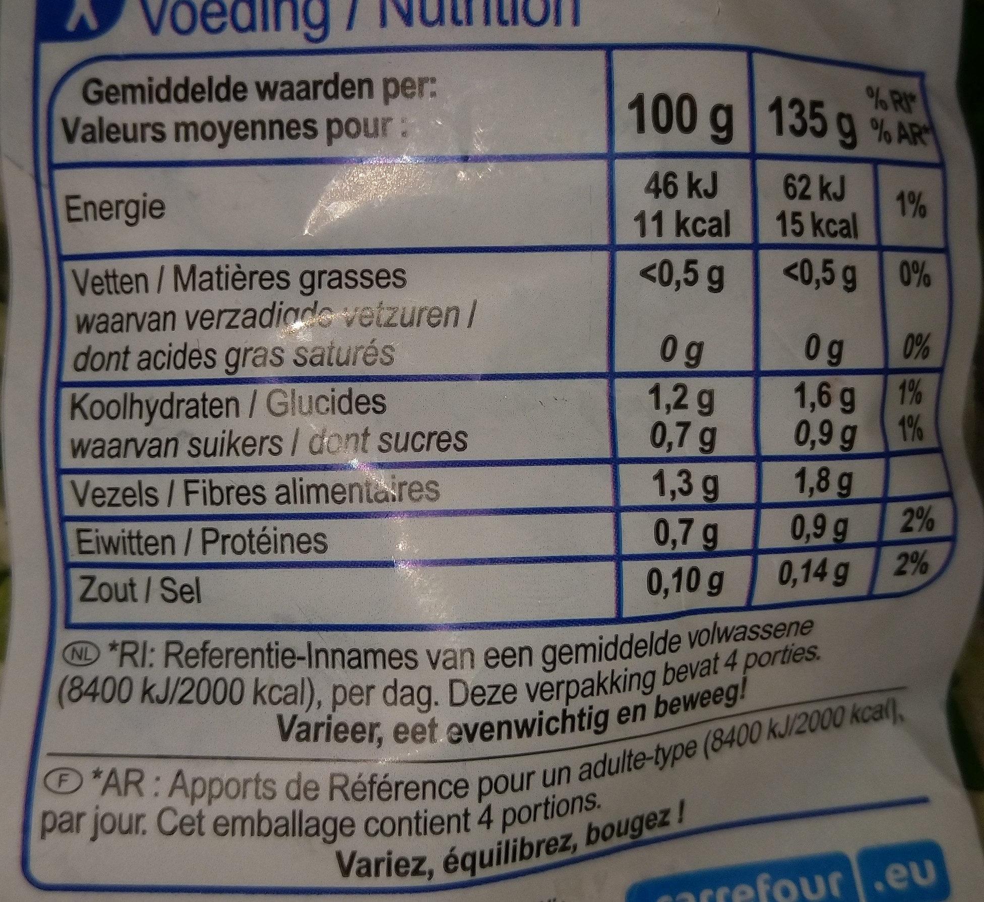 Légumes pour moules - Informations nutritionnelles - fr