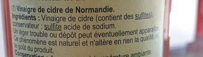 Vinaigre de cidre de Normandie - Ingredients - fr