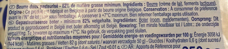 Beurre DOUX LAIT ORIGINE BRETAGNE - Ingredients - fr