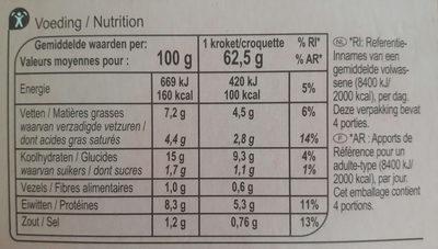 Croquettes aux crevettes - Voedingswaarden - fr