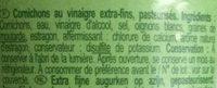 Cornichons extra-fins - Ingrédients - fr