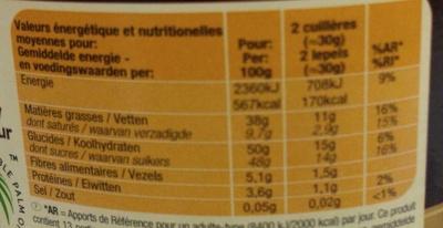 Pâte à tartiner Intense - Voedingswaarden - fr