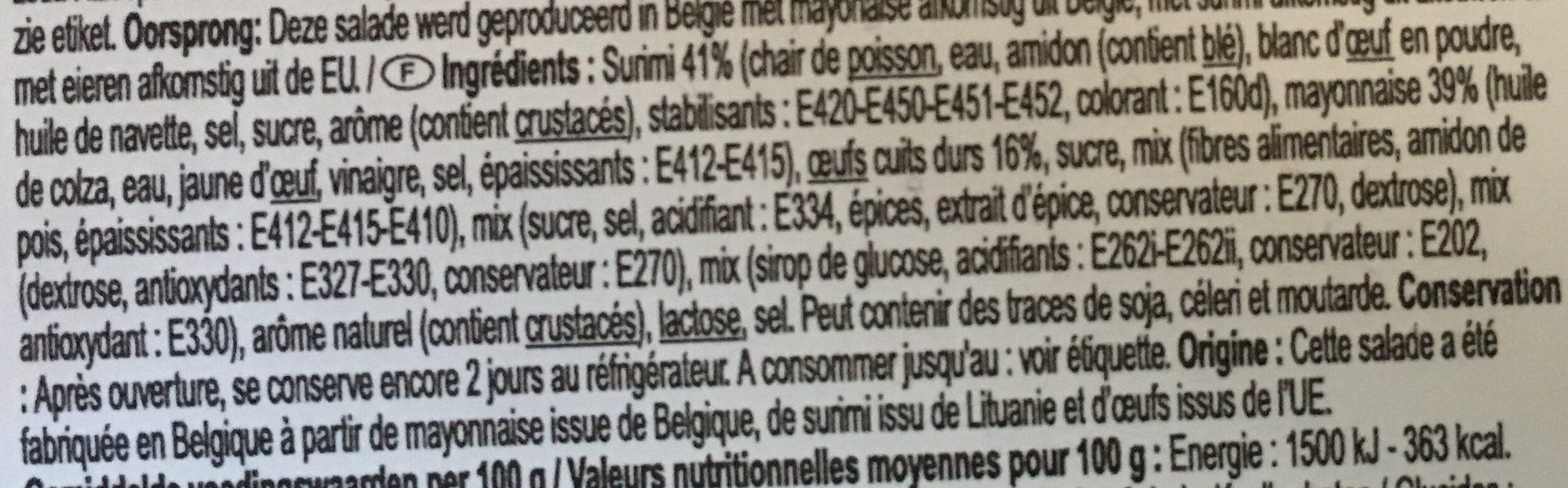 Préparation de surimi à tartiner - Ingredients - fr