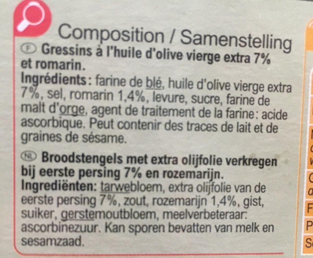 Flûtes Huile d'olive 7% & romarin - Ingrediënten - fr