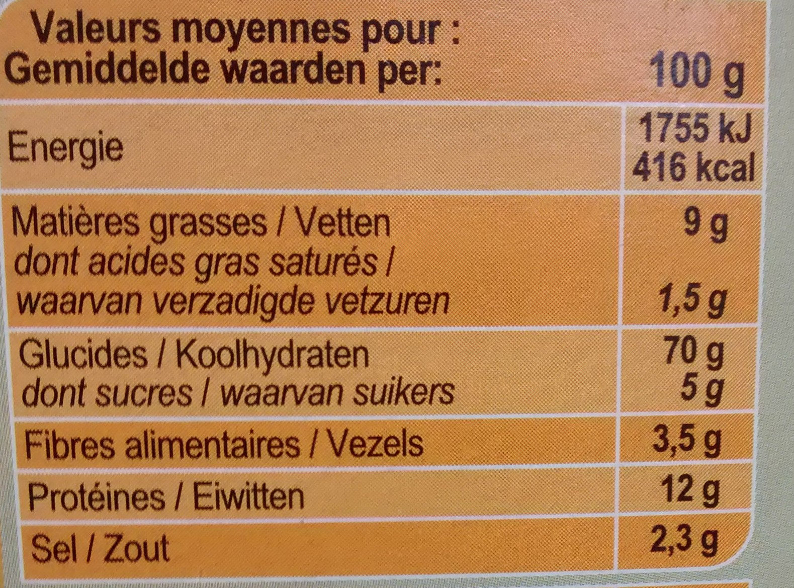 Flûtes Huile d'olive 7% & romarin - Voedingswaarden - fr
