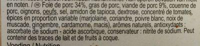 Pâté crème - Ingrediënten - fr