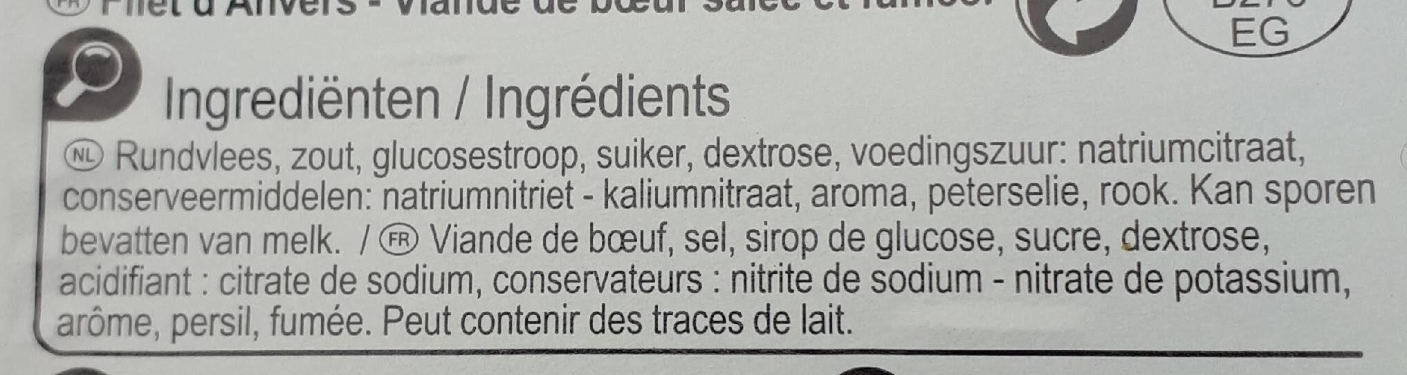 Filet d'Anvers - Ingrediënten