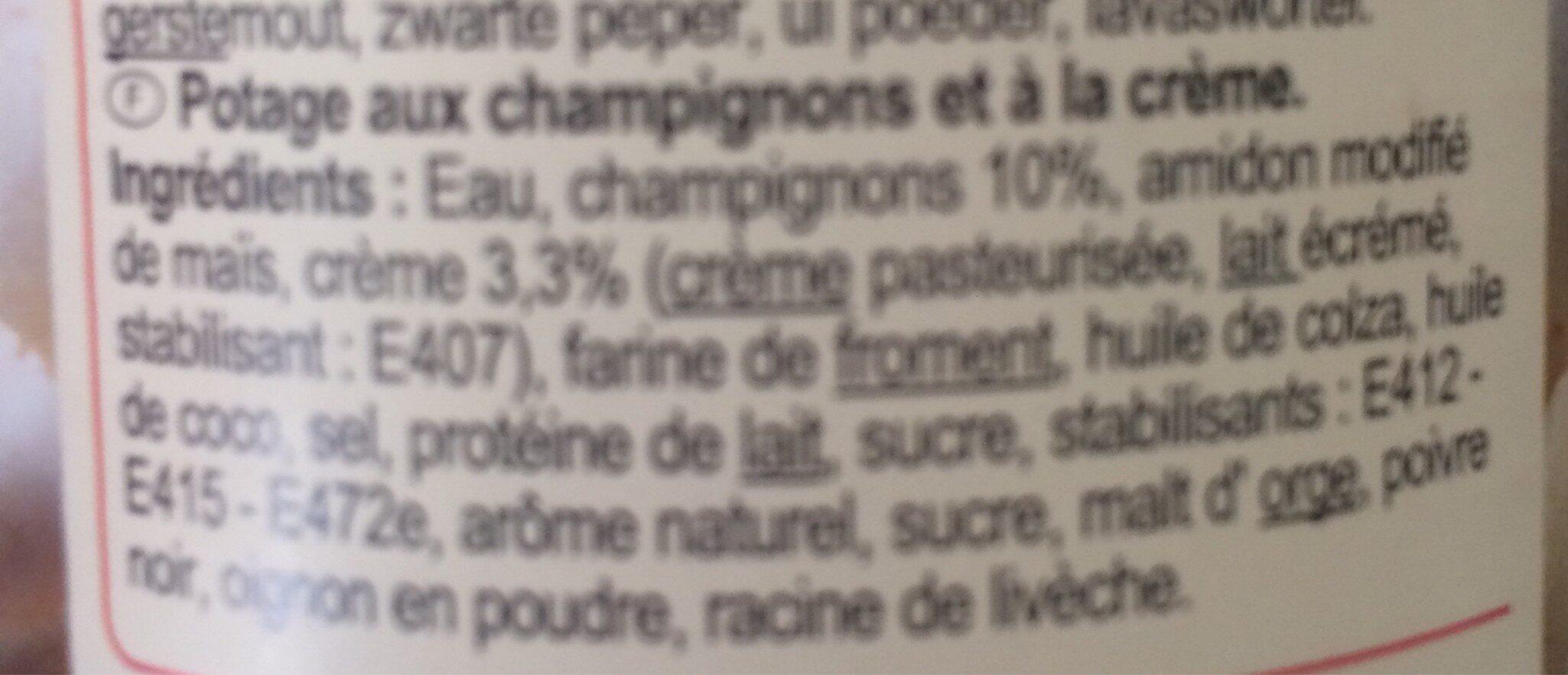Crème de champignons - Ingrédients - fr