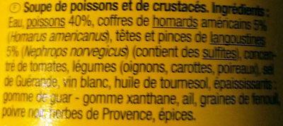 Soupe poissons et crustacés - Ingredients