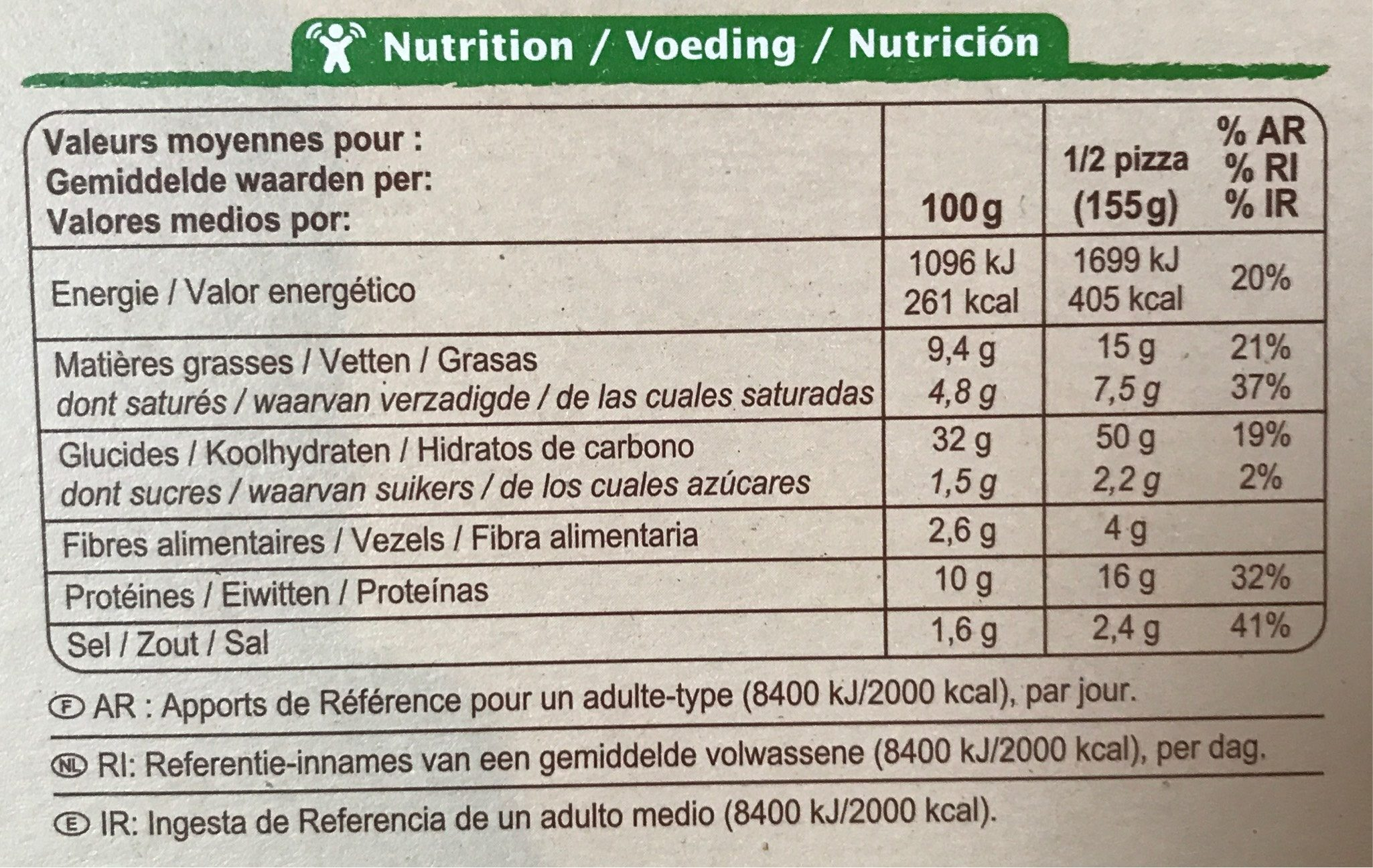 Pizza Margherita - Informations nutritionnelles
