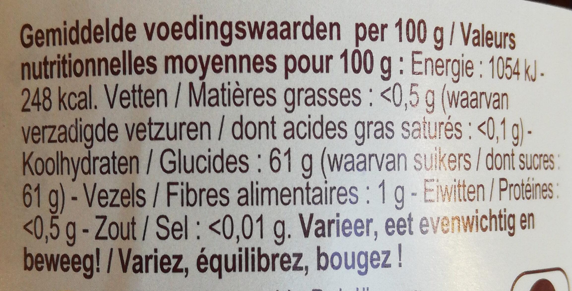 Confiture bio framboises - Voedingswaarden