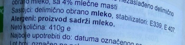Kondezovano mleko - Ingrédients
