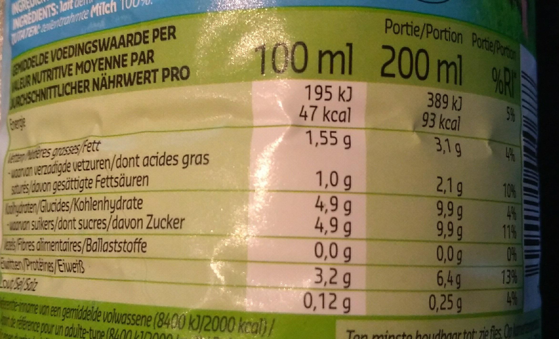Lait AA Demi-écrémé - Informations nutritionnelles