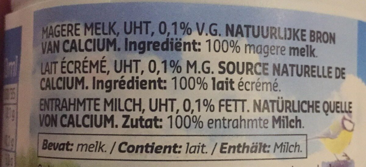 Lait ecrémé - Ingrediënten