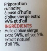 Huile d'olive a l'ail - Ingrediënten - fr