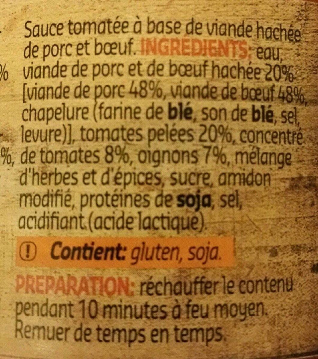 Bolognese Sauce - Ingrediënten