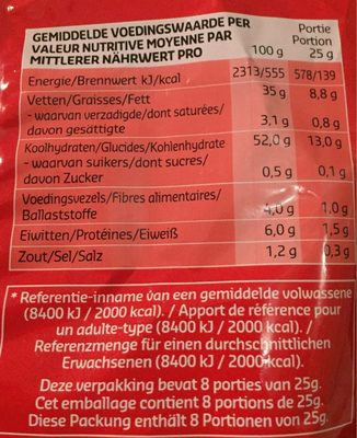 Ribble Chips Naturel - Voedingswaarden - fr
