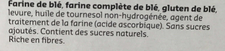 Biscote faible en sel - Ingrediënten