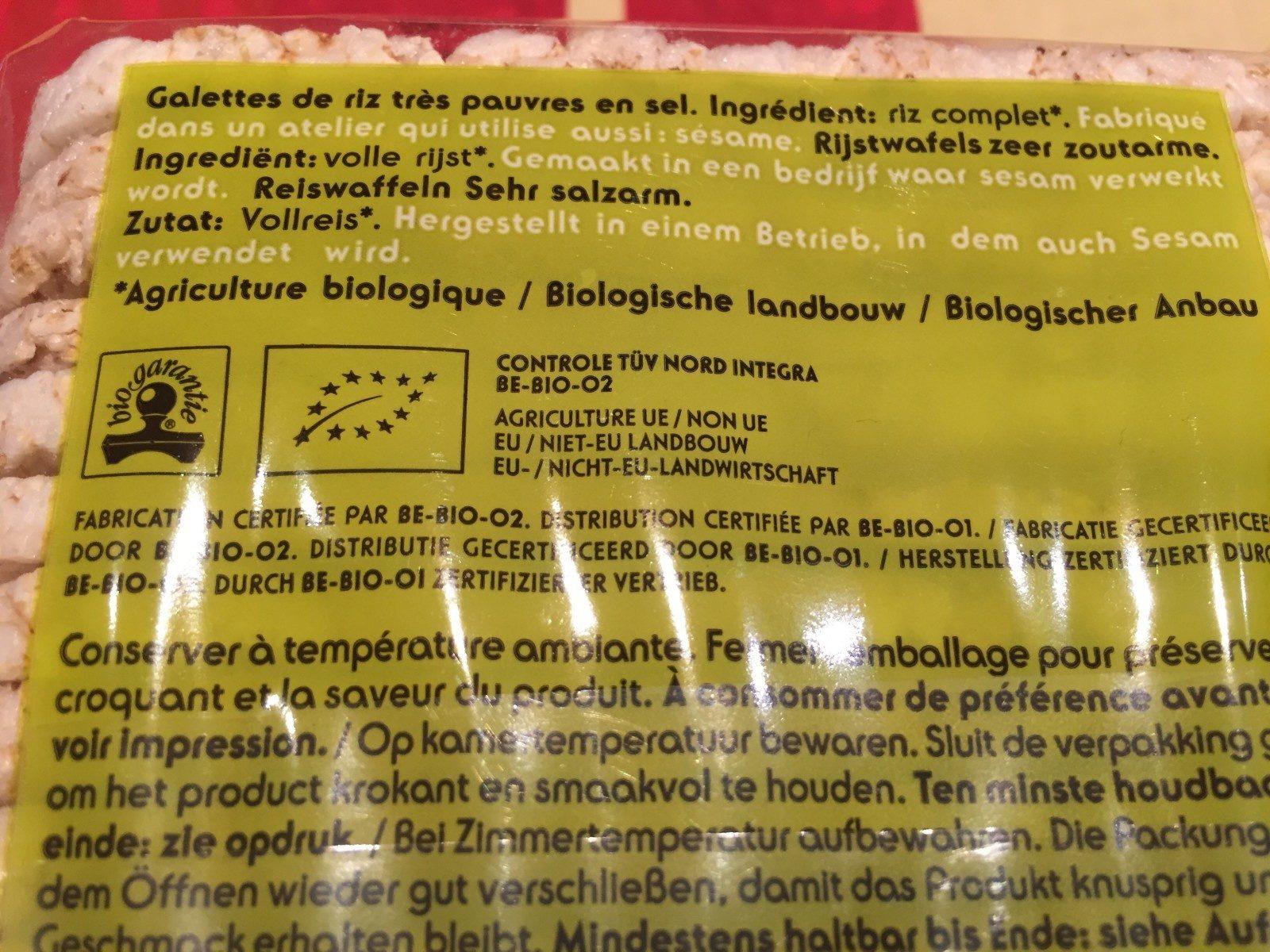 Galettes De Riz Bio - Ingrédients