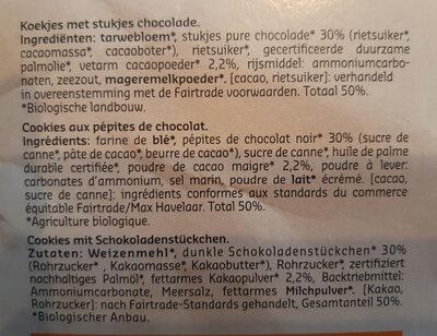 Cookies au chocolat avec pépites de chocolat - Ingrediënten - nl