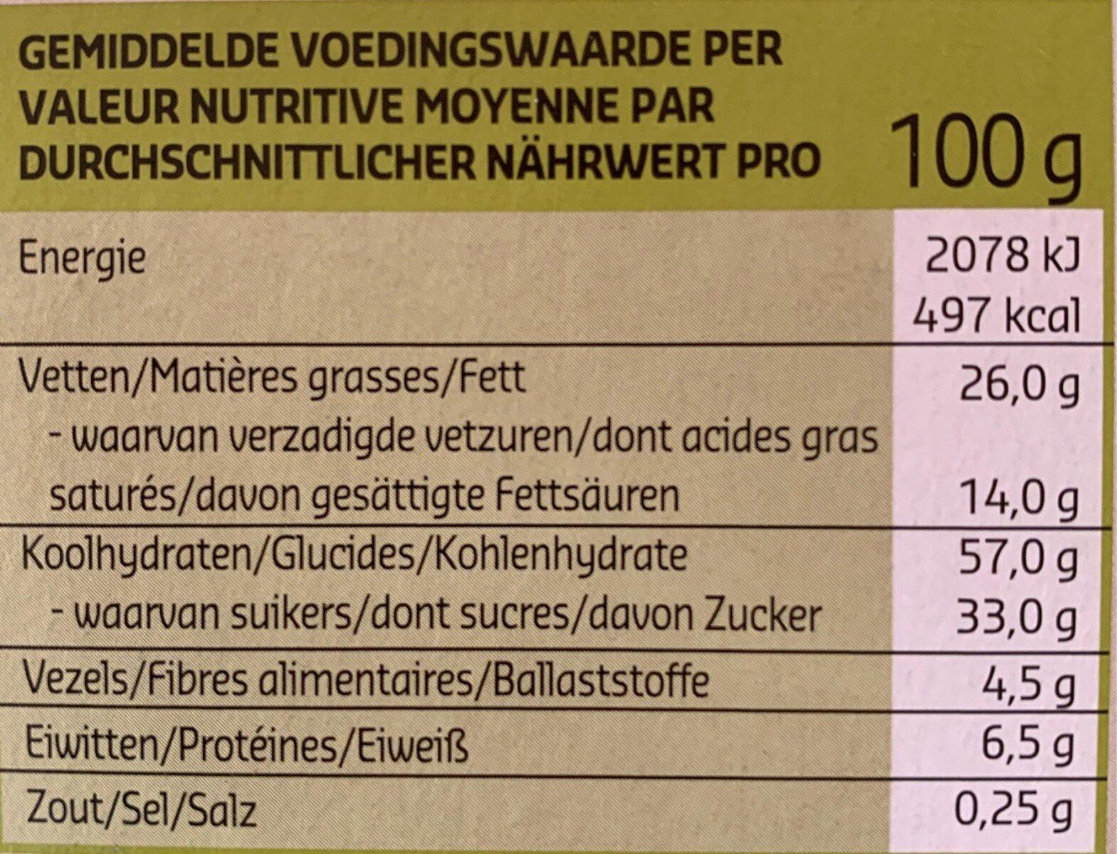 Cookies au chocolat avec pépites de chocolat - Voedingswaarden - nl