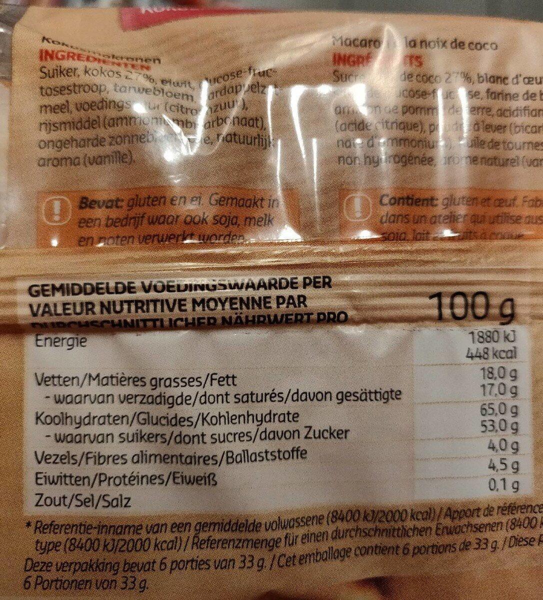 Macarons Coco - Voedingswaarden