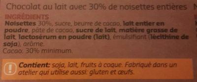 Chocolat lait noisettes - Ingrediënten - fr