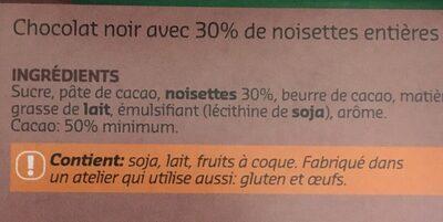 Chocolat Noir Noisettes - Ingrediënten - fr