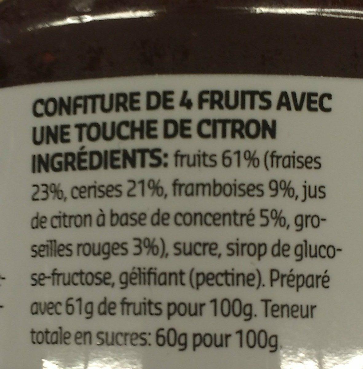 Confiture 4 Fruits - Ingrediënten - fr