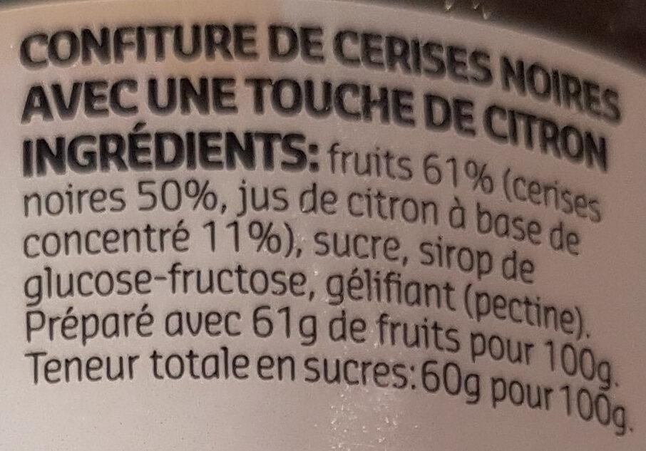 Confiture Cerises Noires 450g - Ingrediënten - fr