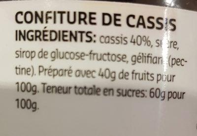 Confiture de cassis - Ingrediënten - fr