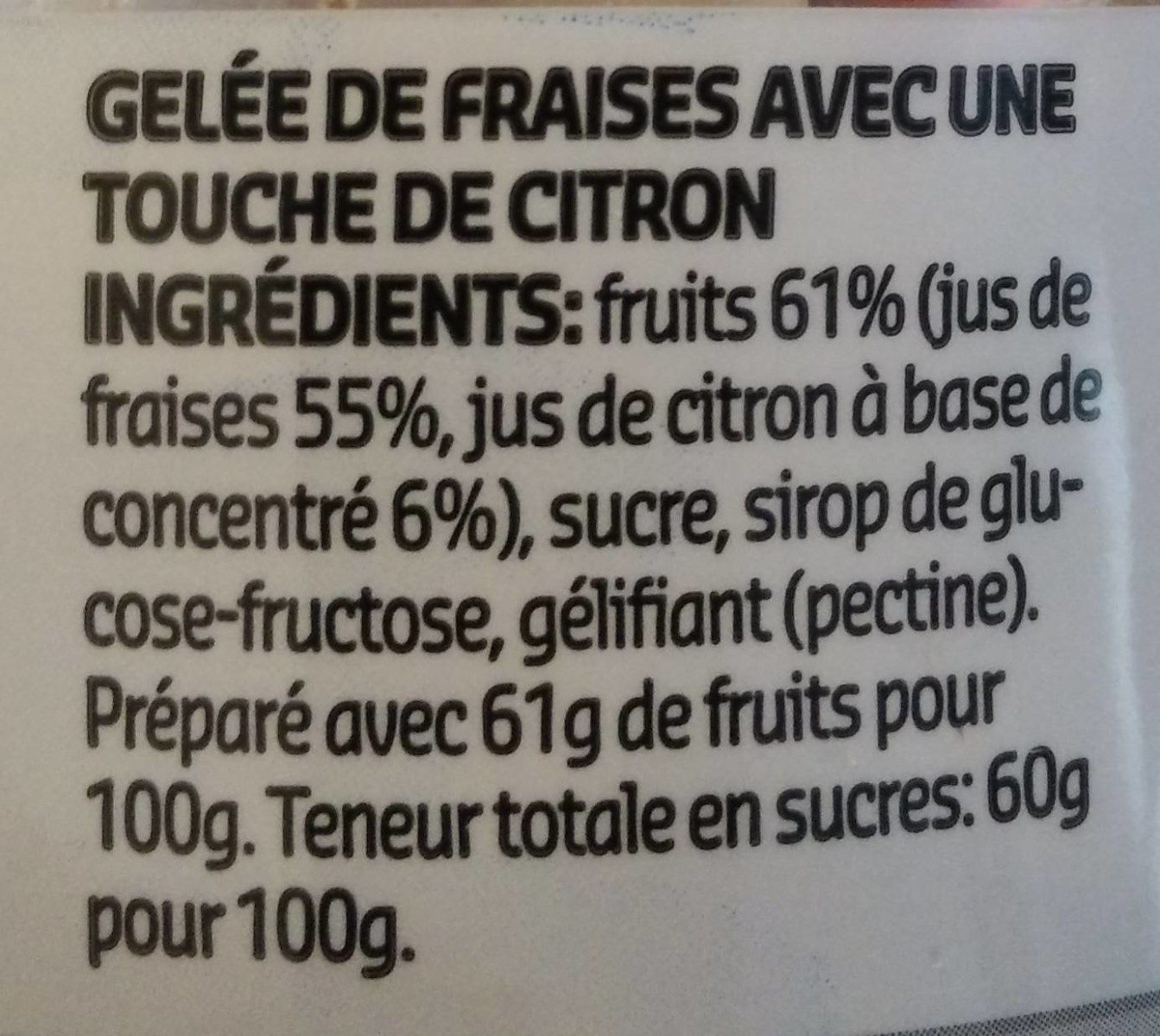 Gelée Fraises - Ingrediënten - fr