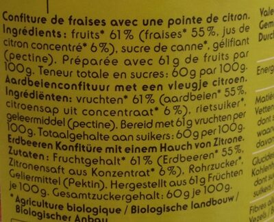 Confiture Fraise - Ingrediënten - fr