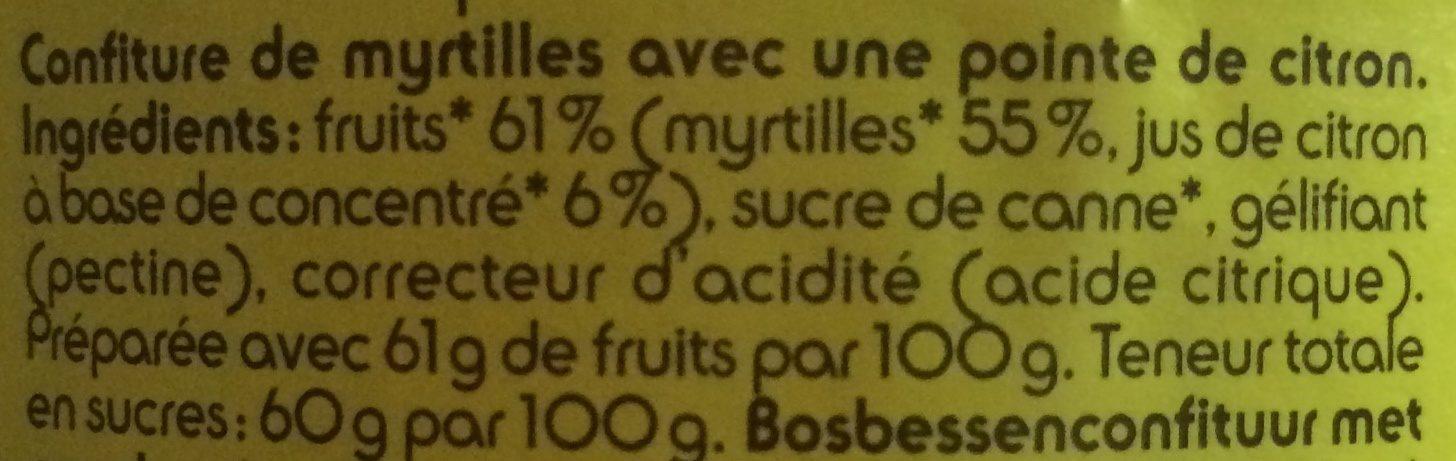 Confiture de Myrtilles - Ingrédients