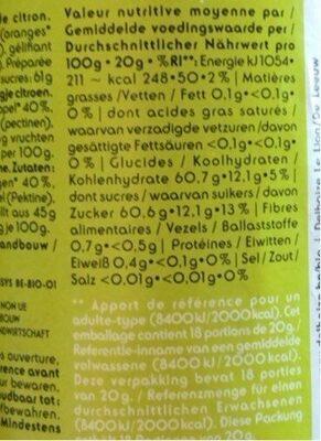 Confiture Orange Bio - Informations nutritionnelles - nl