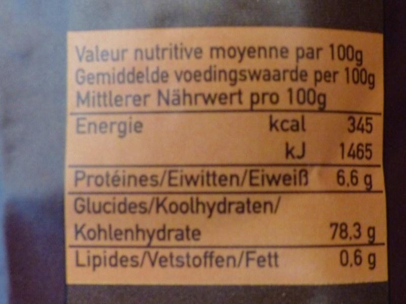Riz parfumé de Thaïlande - Nutrition facts - fr