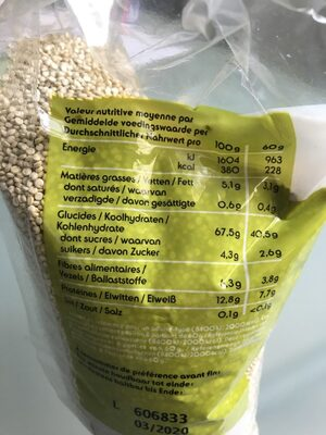Quinoa Real Bio 500g - Ingrediënten